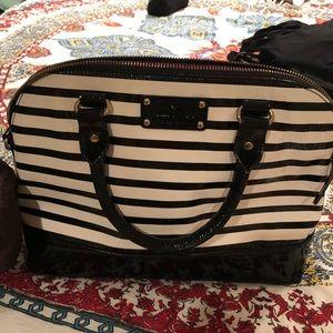 kate spade black and white striped purse